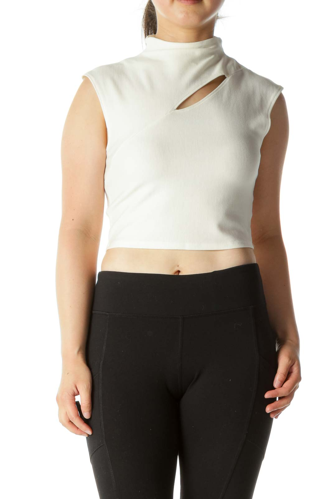 Cream High Neck Cropped Shirt Front