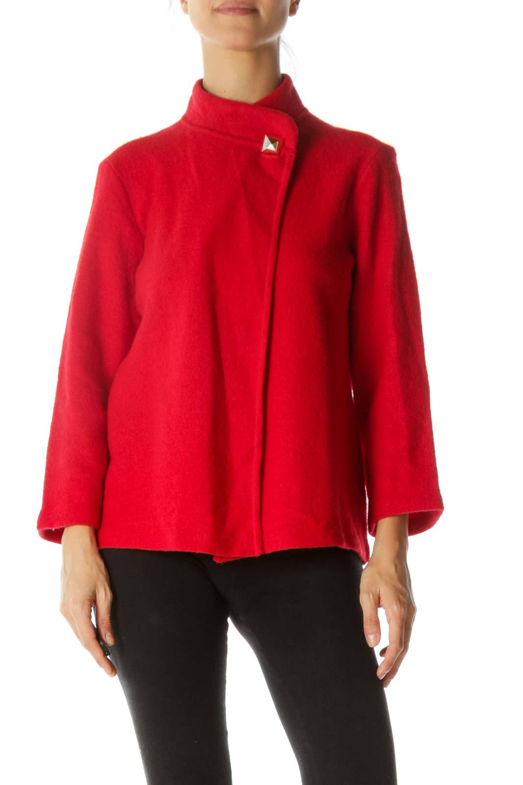 Red Textured Cape Cardigan Front