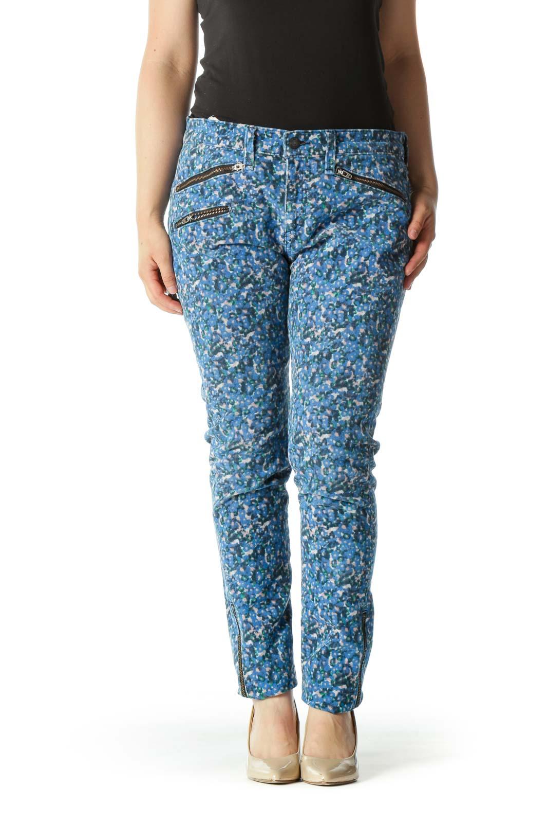 Blue White Pink Cotton Floral Print Corduroy Zipper Details Pants Front