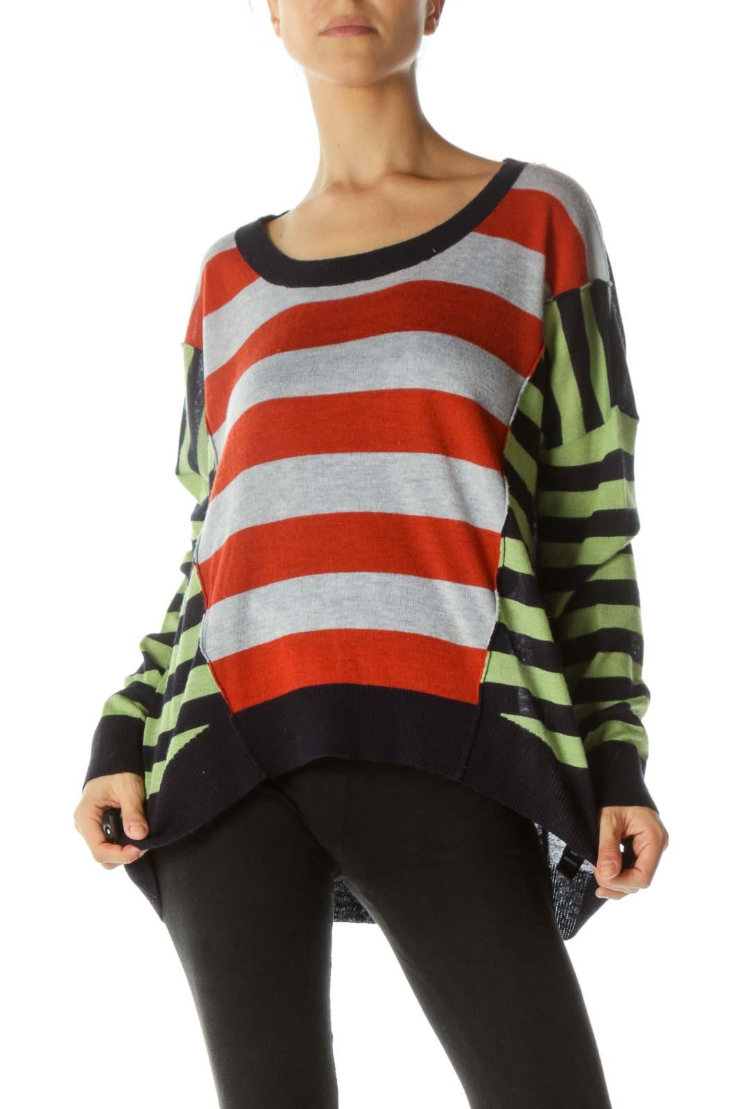 Multicolor Asymmetric Sweater Front
