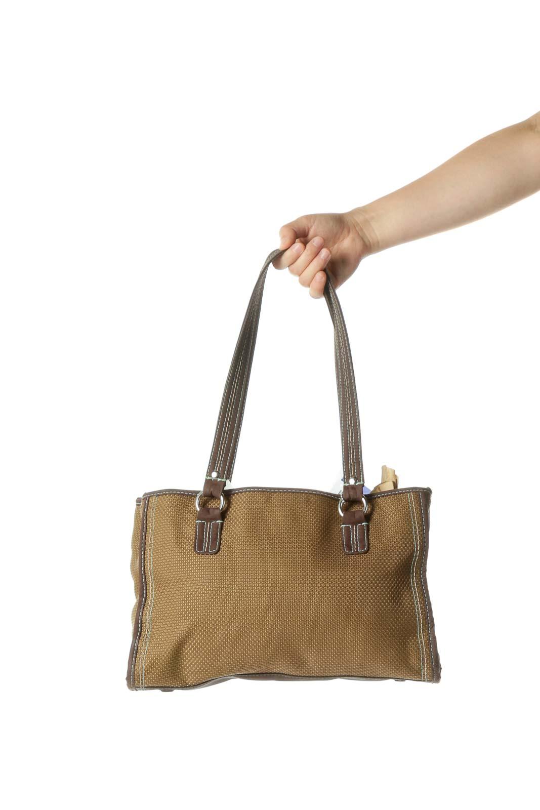 Green Woven Shoulder Bag Front