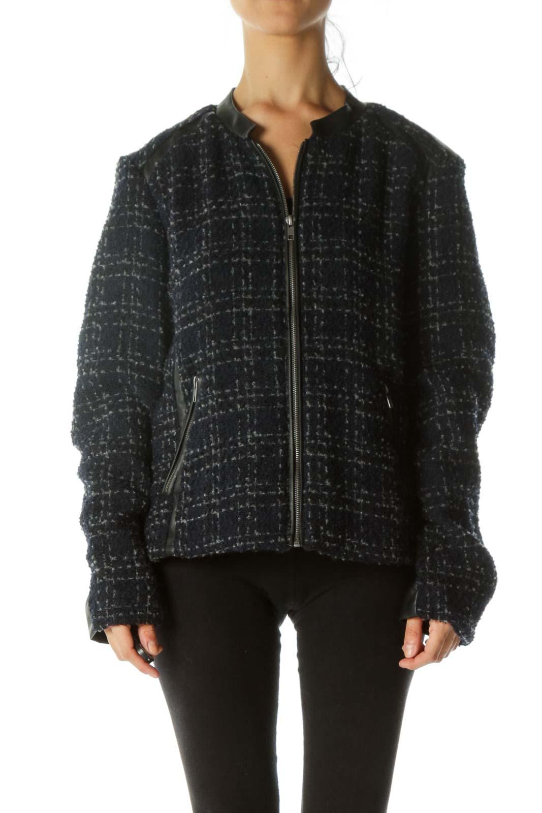 Black Blue Gray Textured Mixed-Media Zippered Jacket Front