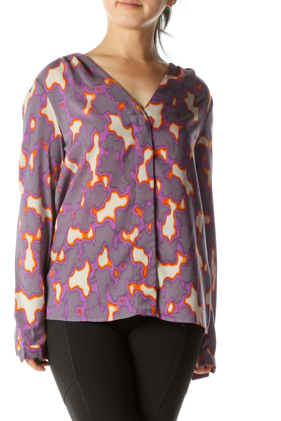 Purple Print Blouse Front