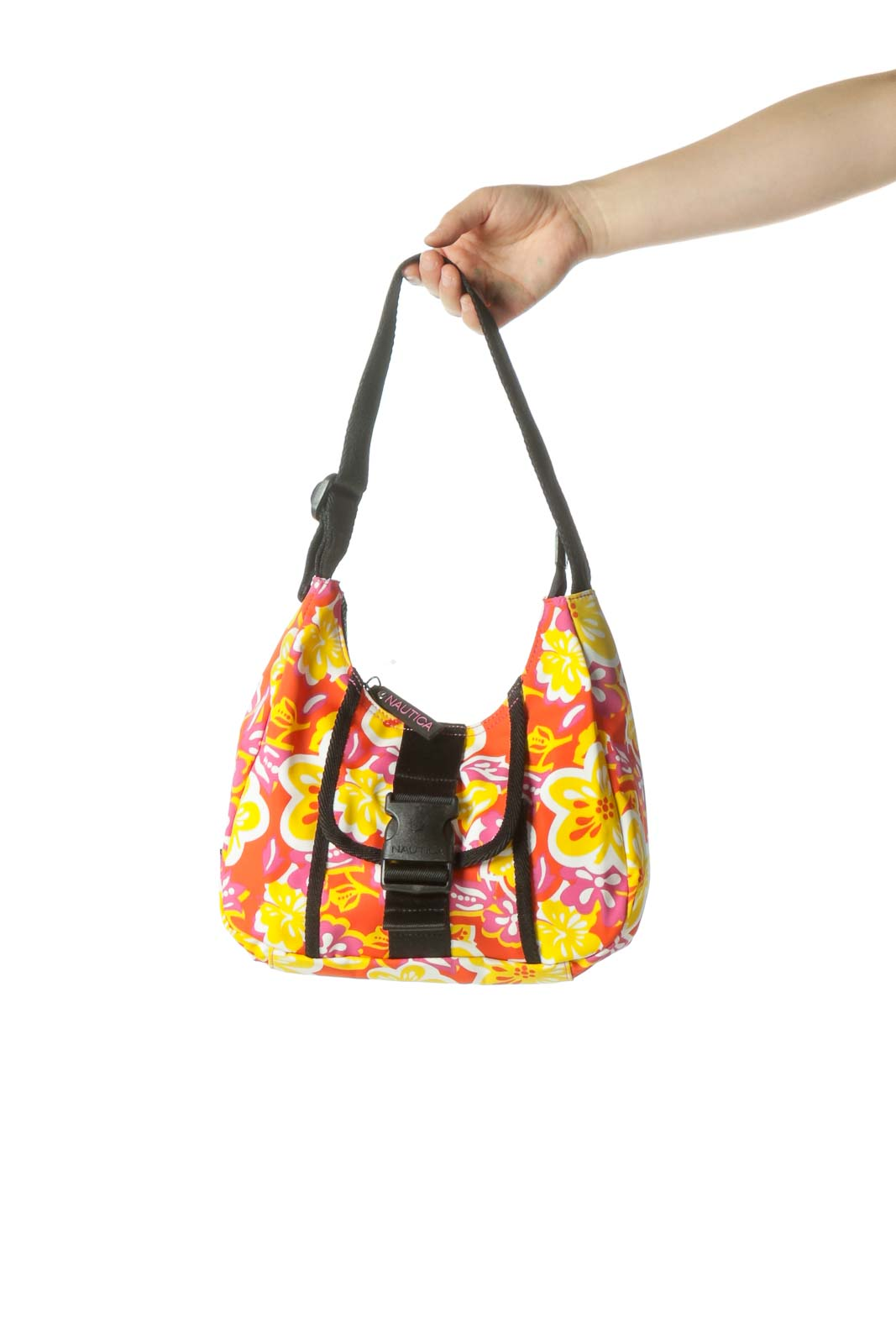 Orange Print Nylon Bag Front