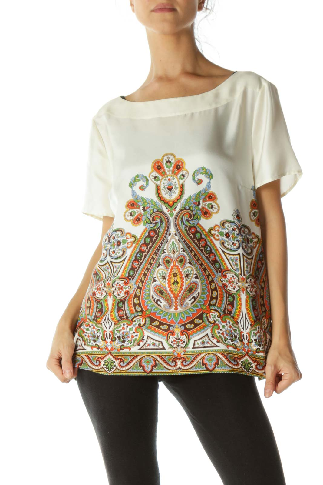 Cream Printed Silk Blouse Front