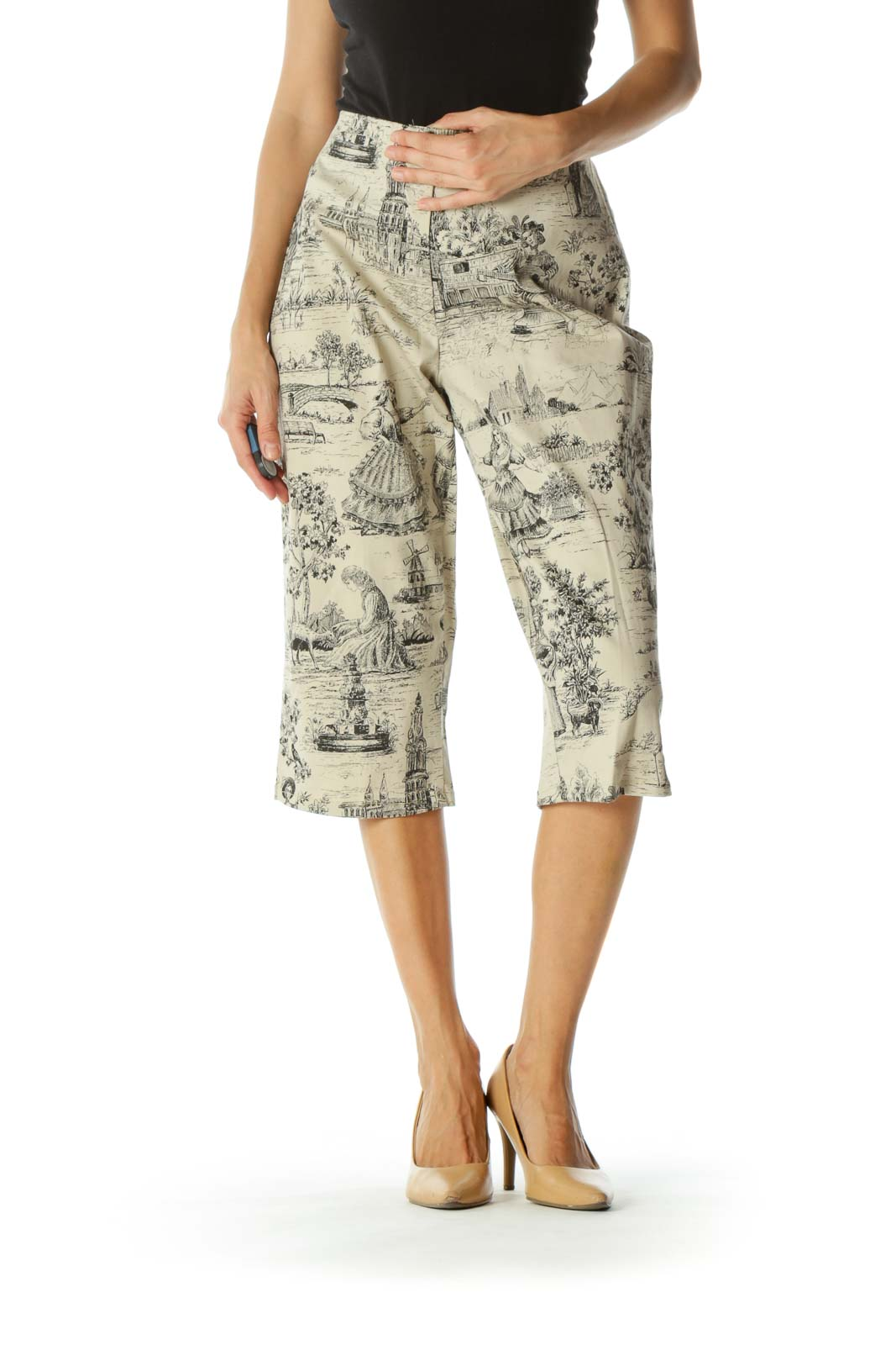 Beige Black Period Print Scenes Cropped Zippered High-Waist Stretch Pants (Altered) Front