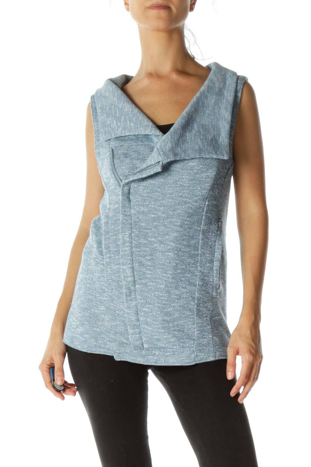 Blue White Mottled Pocketed Knit Stretch Vest Front