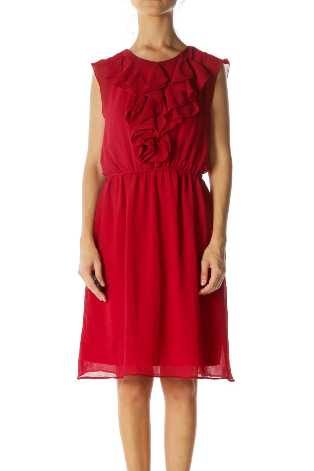 Red Ruffled Midi Dress Front