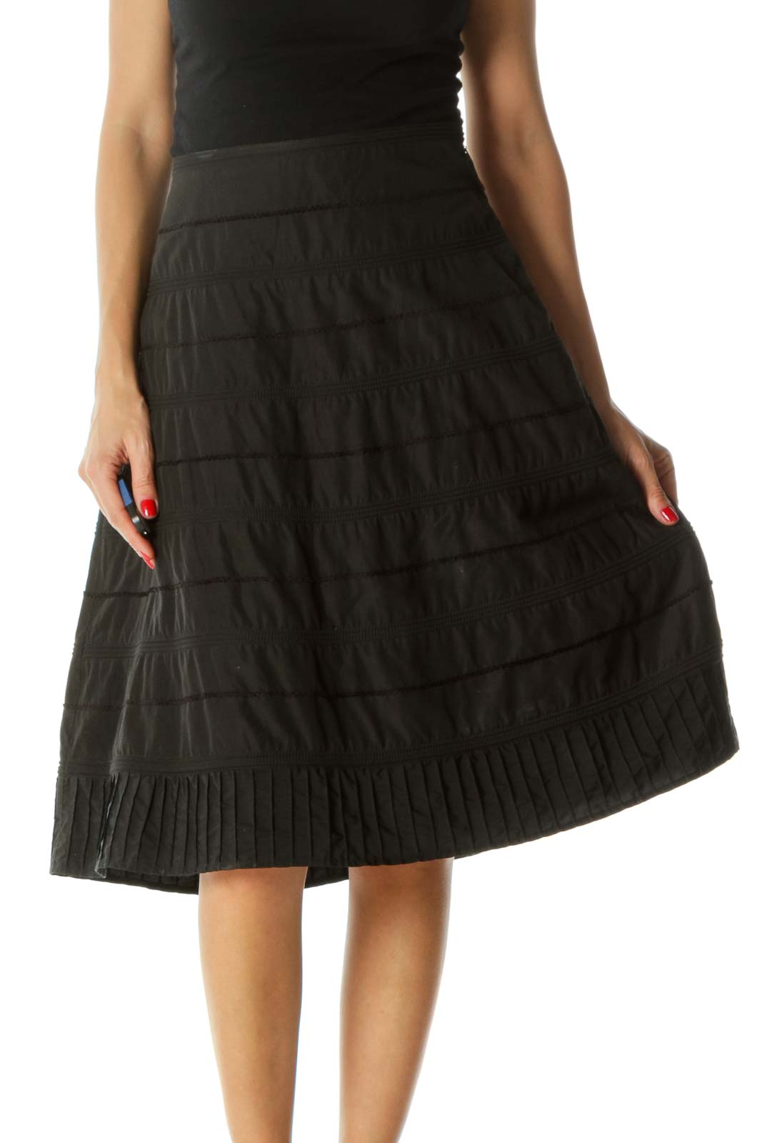 Black Silk Blend Embroidered Textured A-Line Skirt Front
