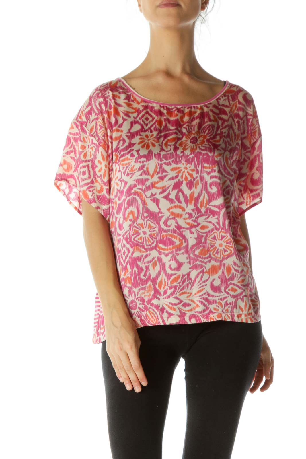 Pink Printed Short Sleeve Top Front