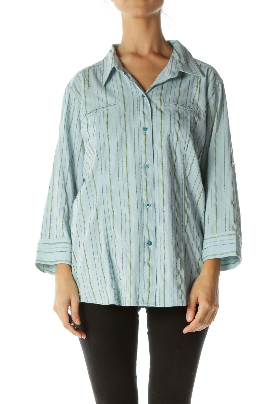 Blue Striped Collard Shirt Front