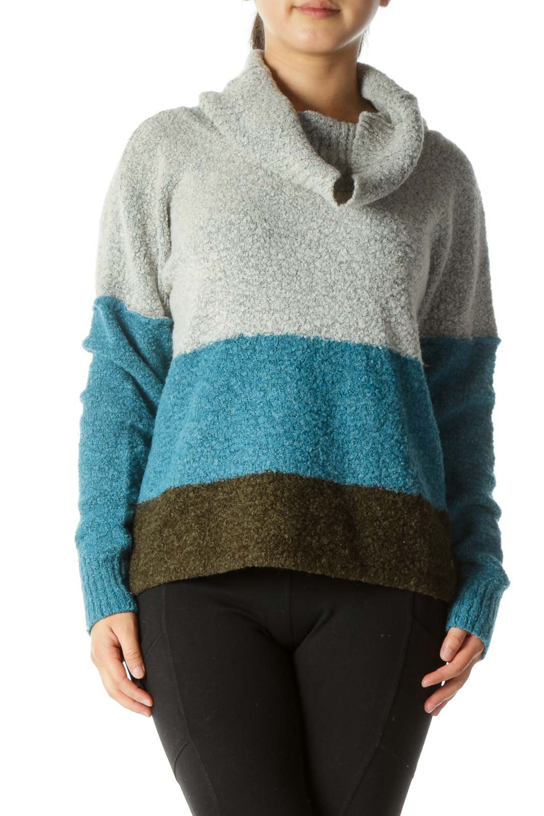 Gray Blue Green Color Block Cowl Neck Sweater Front