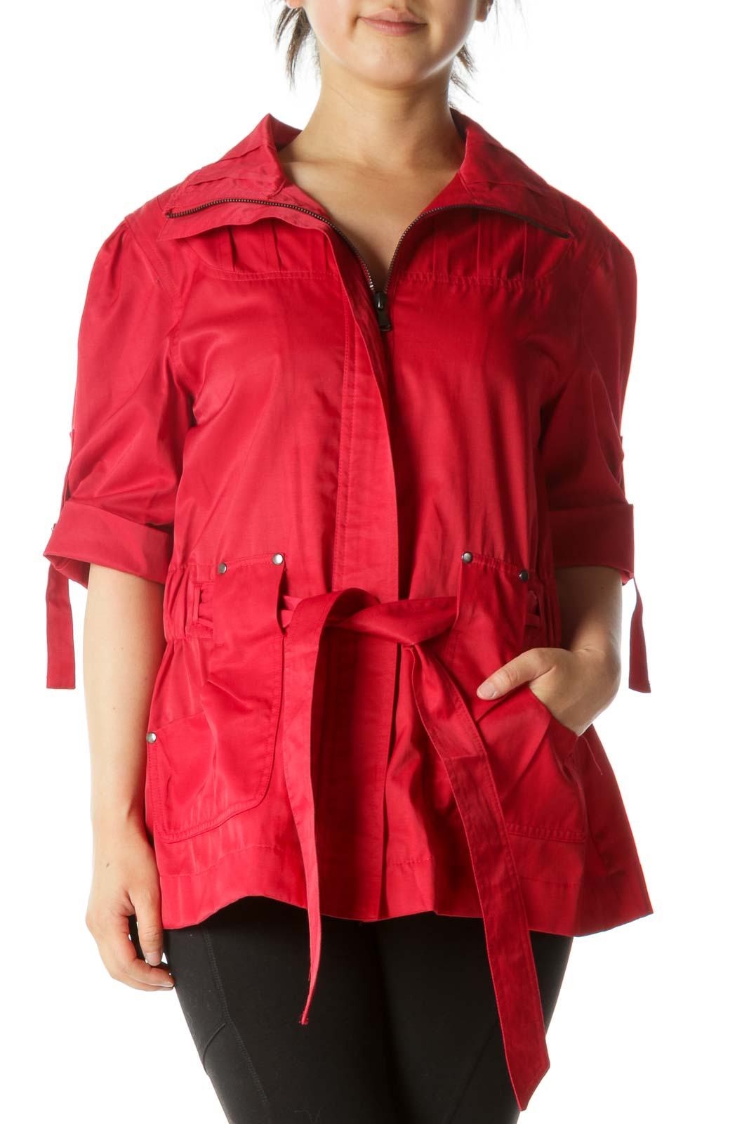 Red Short Sleeve Belted Pocketed Zippered Jacket Front