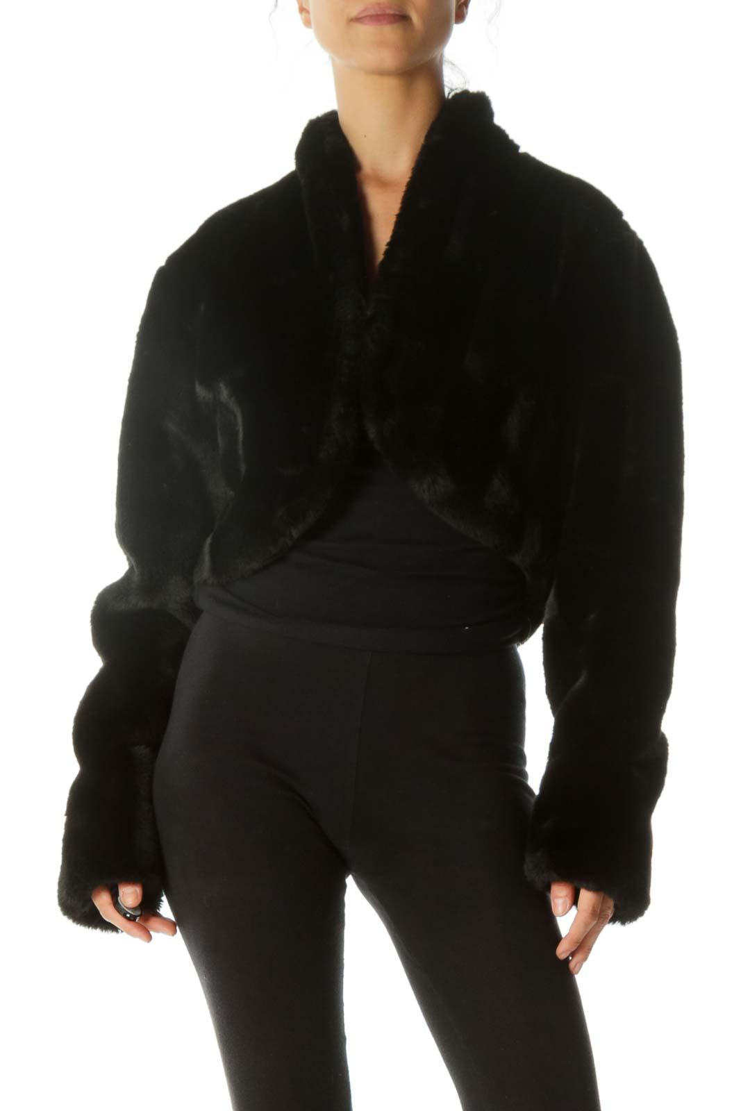 Black Faux-Fur Two Hooks-Closure Bolero Jacket Front