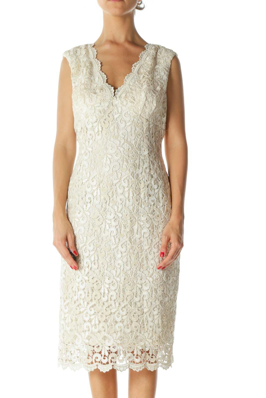 Cream Embroidered Metallic Dress Front