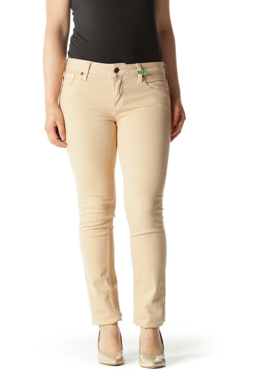 Light Peach Stretch Slim-Fit Pants Front