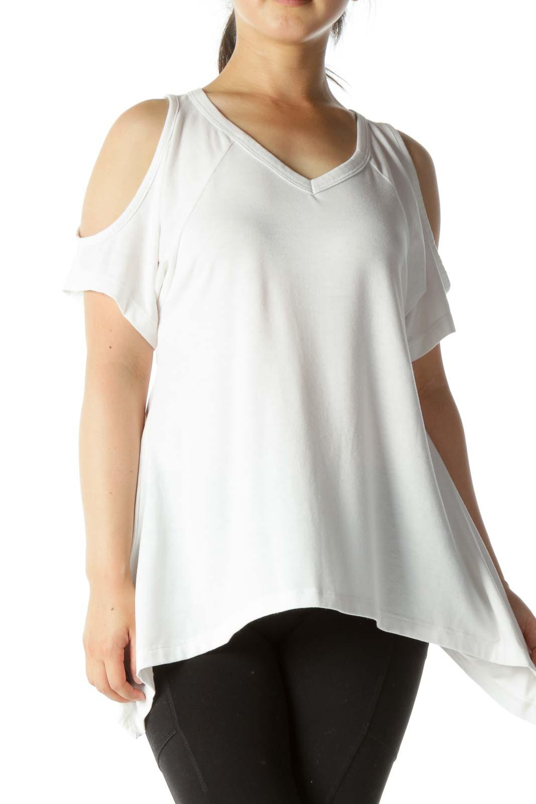 White Cold Shoulder Shirt Front