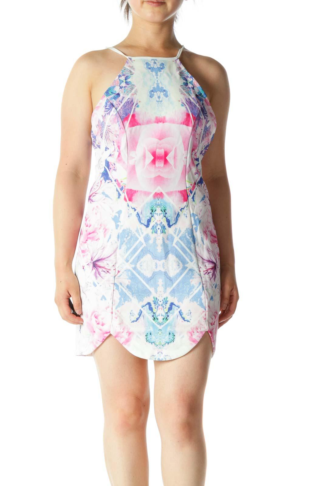 Pink Blue Floral Print Open Back Mini Dress Front
