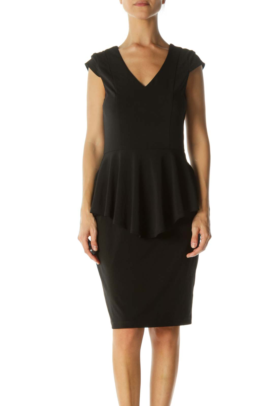 Black Ruffled Fitted Midi Dress Front