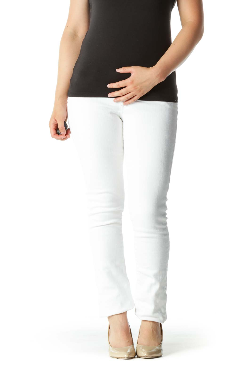Bright White Denim Skinny Pants Front