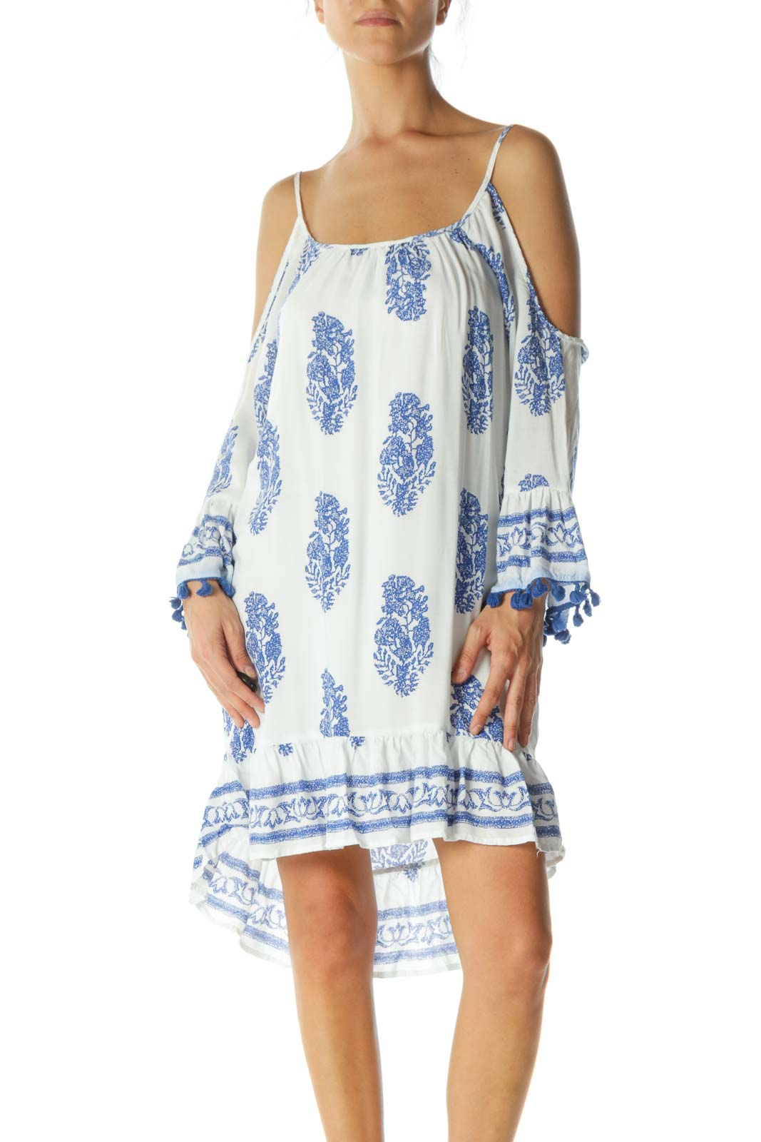 White Blue Pattern Relax Beach Dress Front