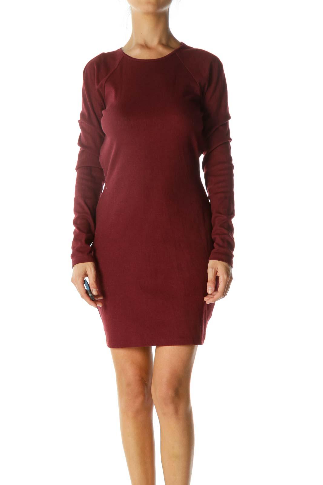 Burgundy Open-Back Long Sleeve Stretch Dress Front