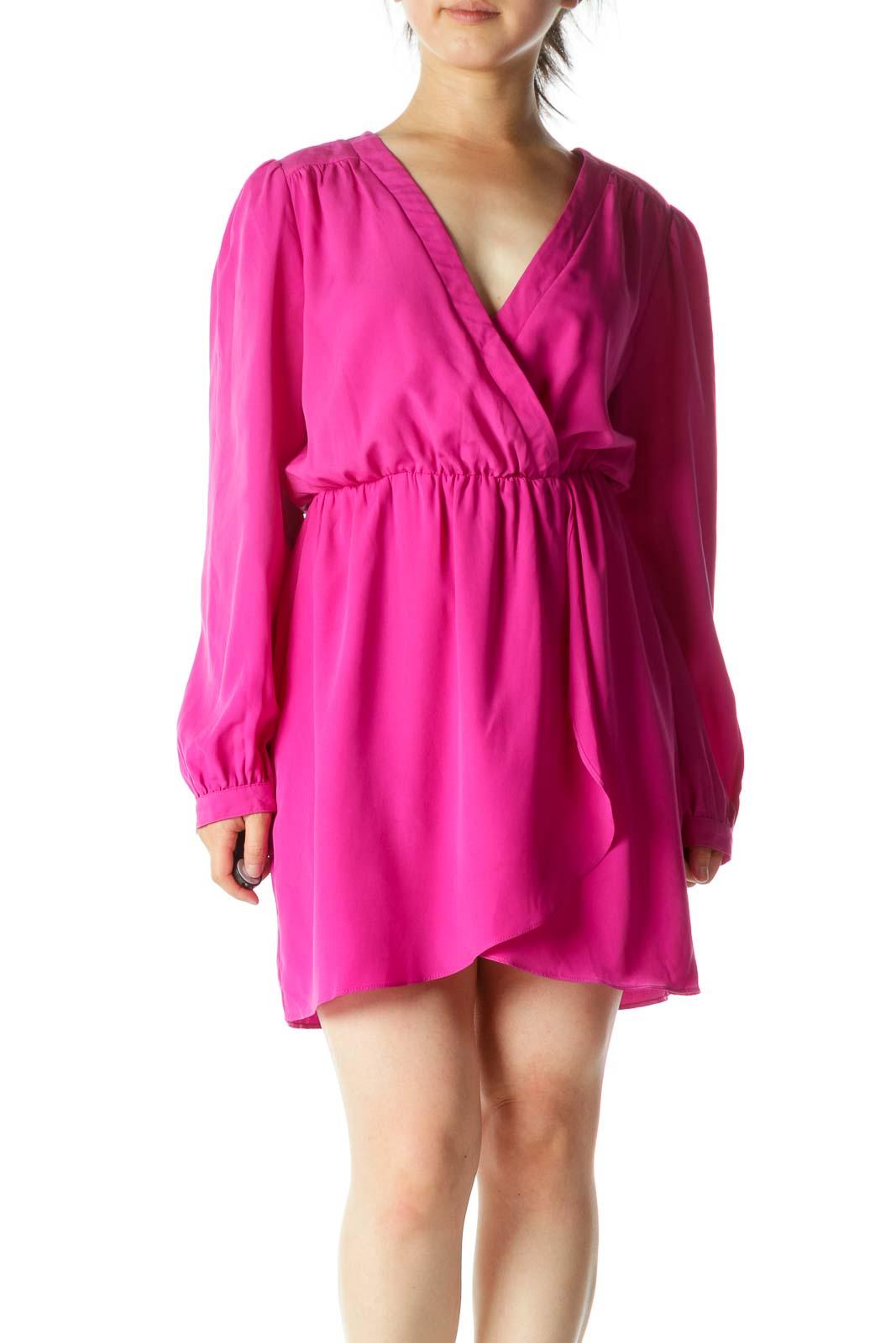 Magenta Wrap Mini Dress Front