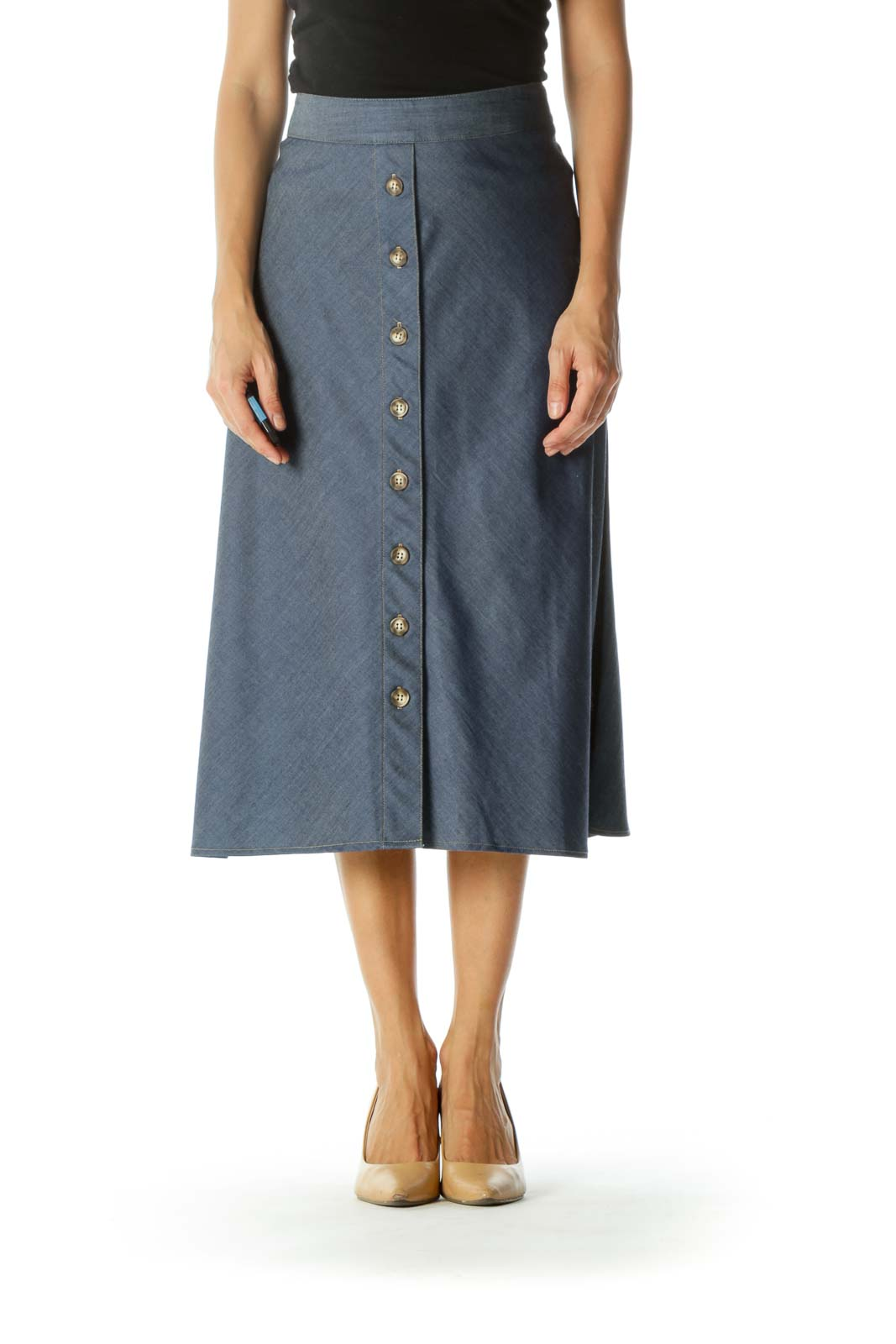 Blue Buttoned Flared Midi Skirt Front