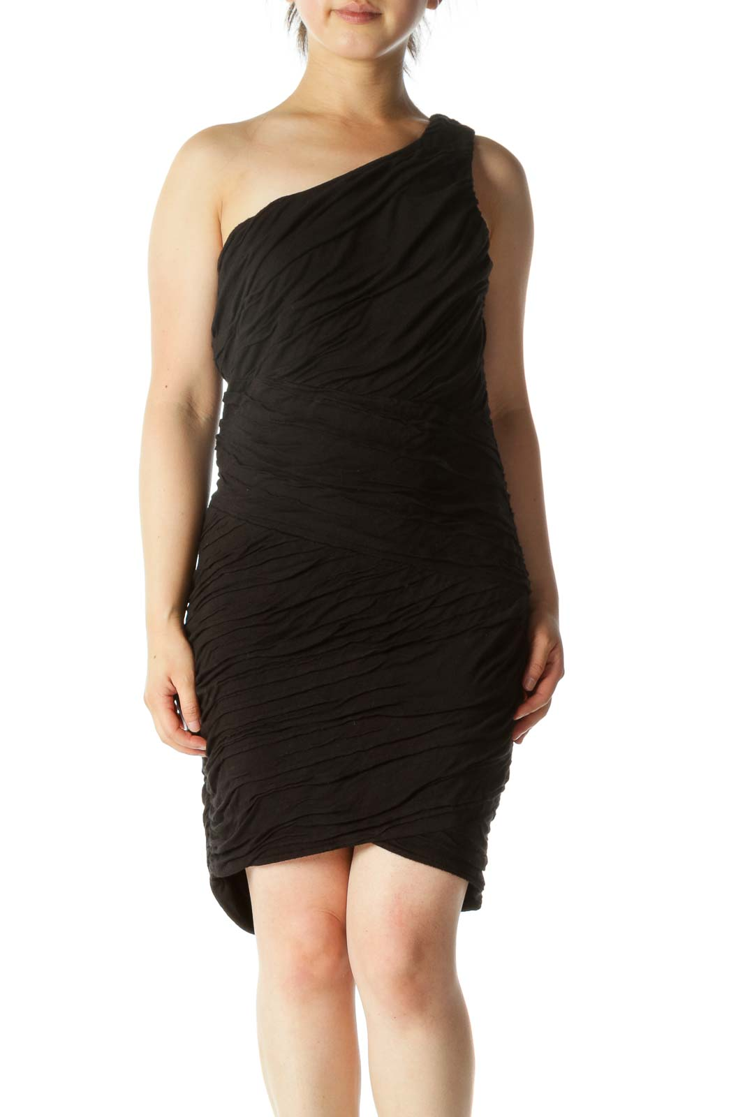 Black One Shoulder Ruched Fitted Dress Front