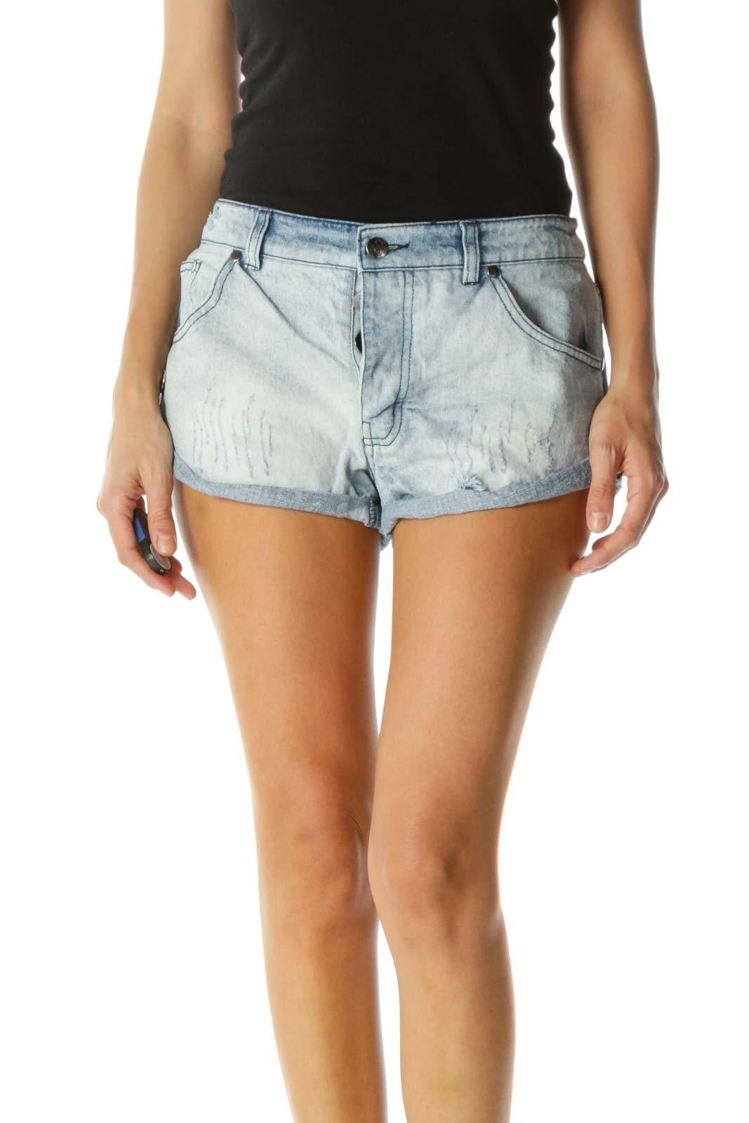 Blue Light-Wash 100% Cotton Distressed Peace Applique Buttoned-Fly Denim Shorts Front