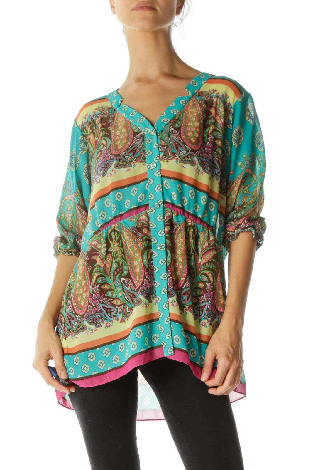 Green Paisley Print See Through Blouse Front