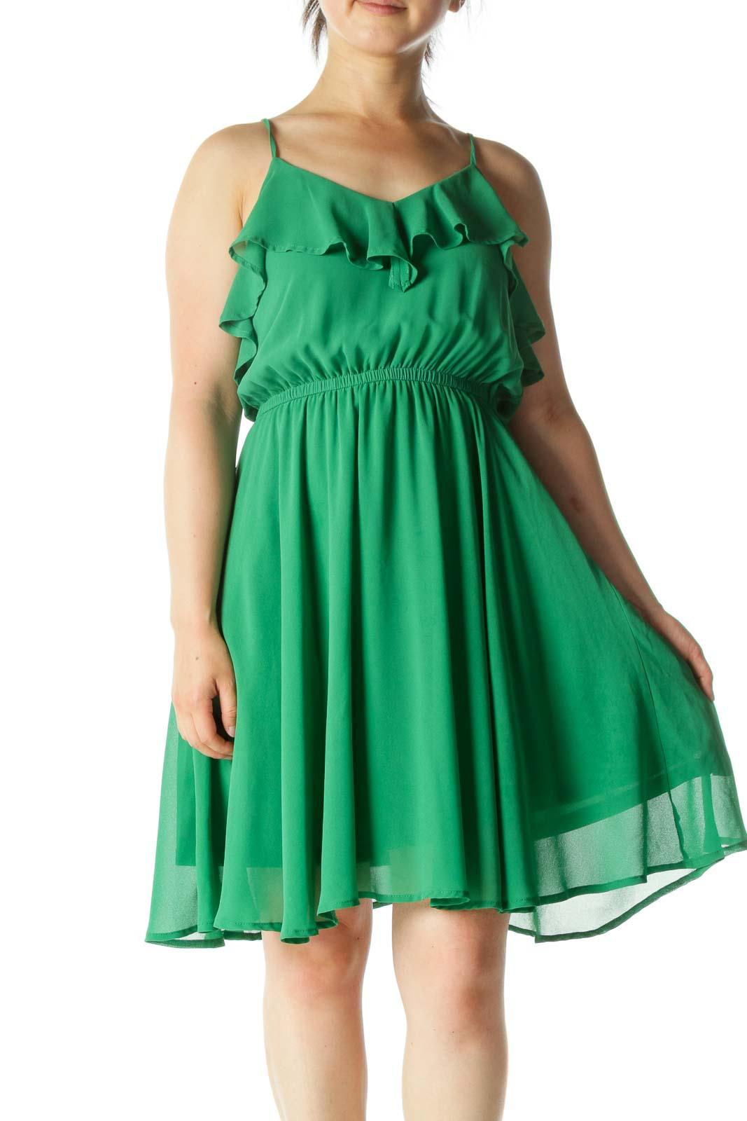 Green Ruffle Chiffon Midi Dress Front