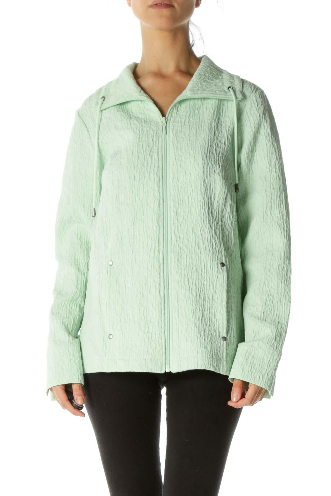 Mint Green Jacquard Drawstring Zippered Pocketed Jacket Front
