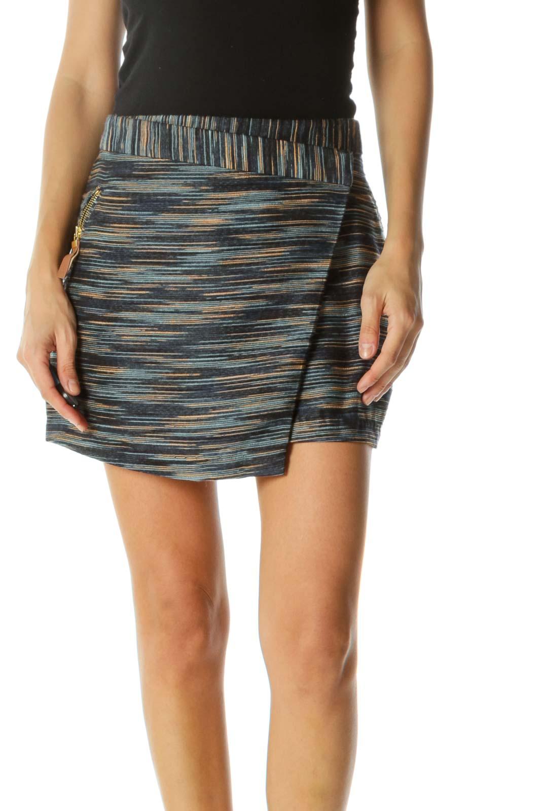 Blue Beige Textured Knit Gold Zippers Mini Skirt Front