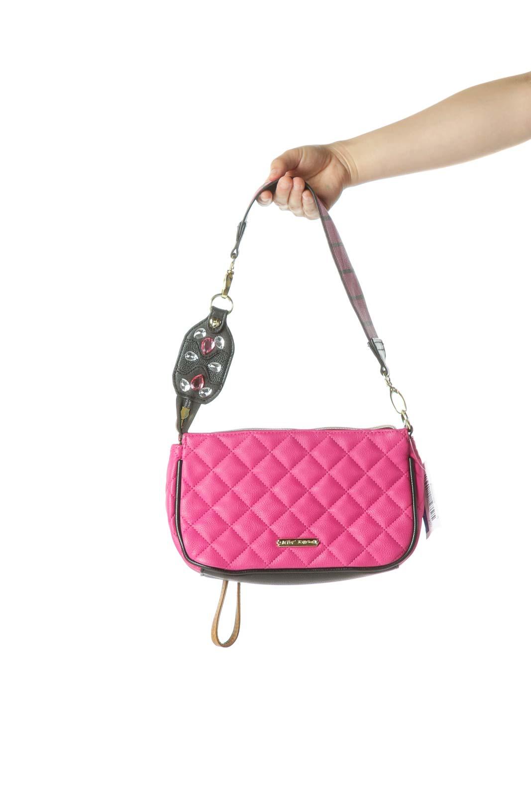 Pink Quilted Shoulder Bag Front