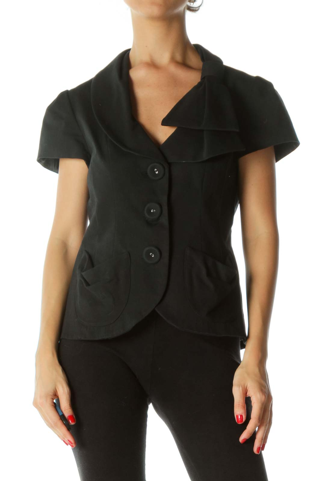 Black V-Neck Fabric-Buttons Bow-Shoulder Detail Textured Short-Sleeve Blazer Front