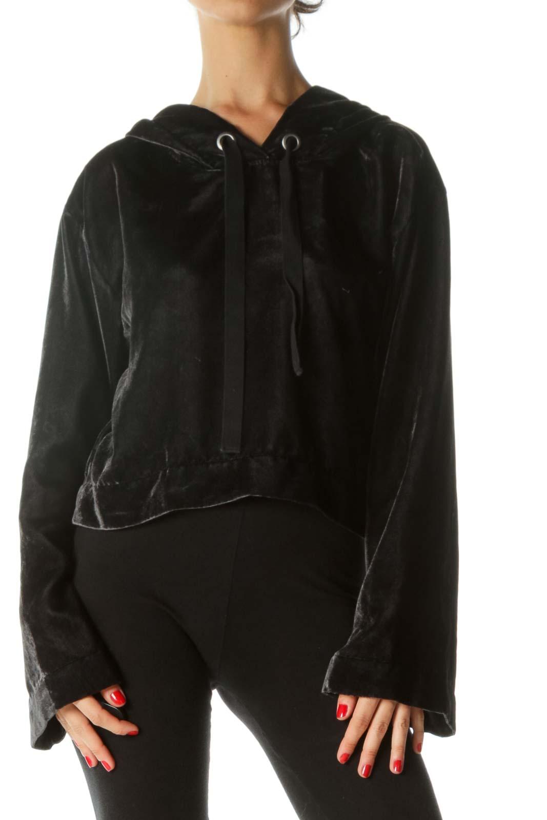 Black Velvet Cropped Hoodie Front
