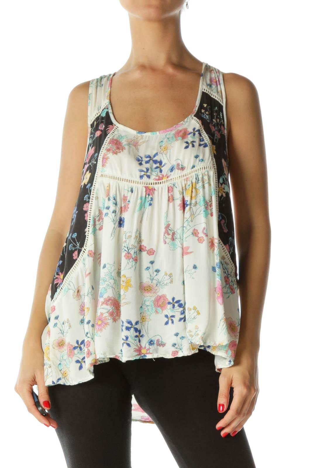 Beige Multicolor  Crocheted Floral Tank Top  Front