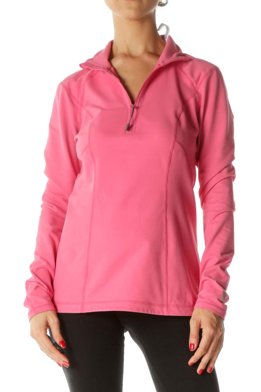 Pink Zippered Sport Long Sleeves Top  Front