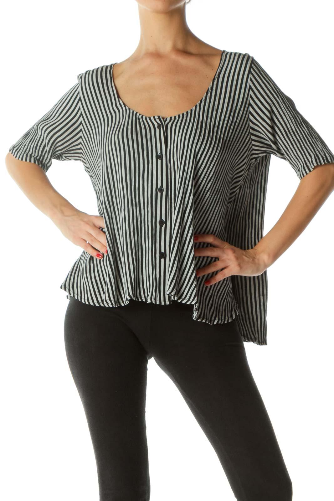 Black Gray Striped Short Blouse  Front