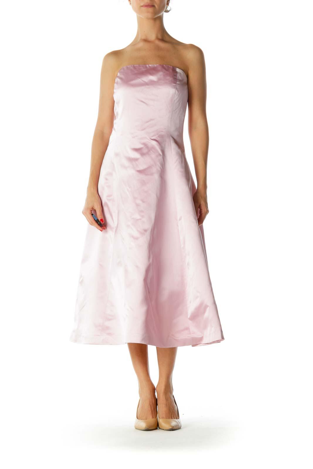 Pink Silk Strapless Evening Dress Front