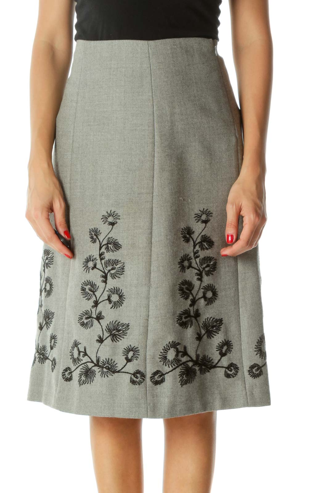 Gray Black Wool Floral Embroidery Cinched-Waist A-Line Skirt Front