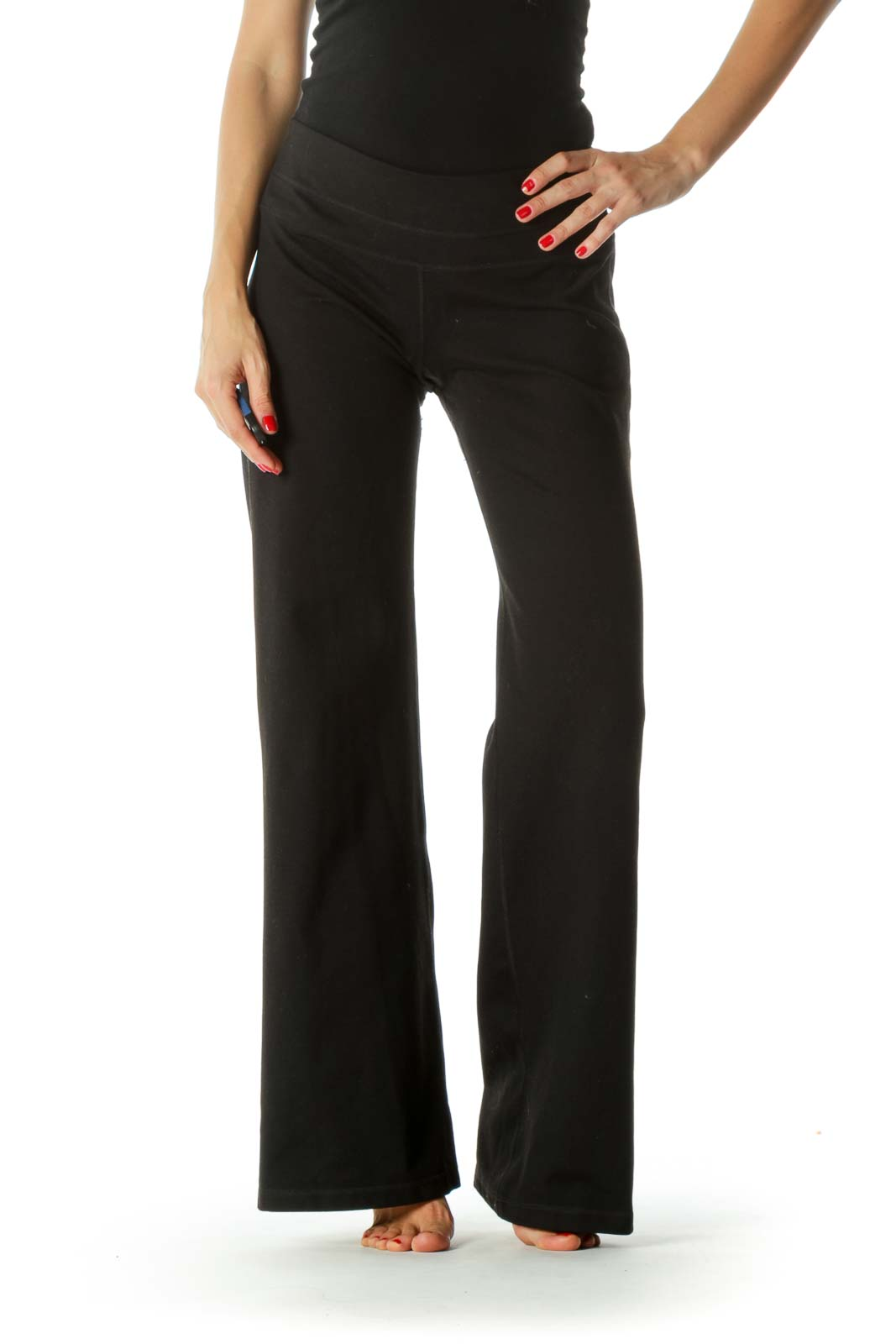 Black Stretch Active Pants Front