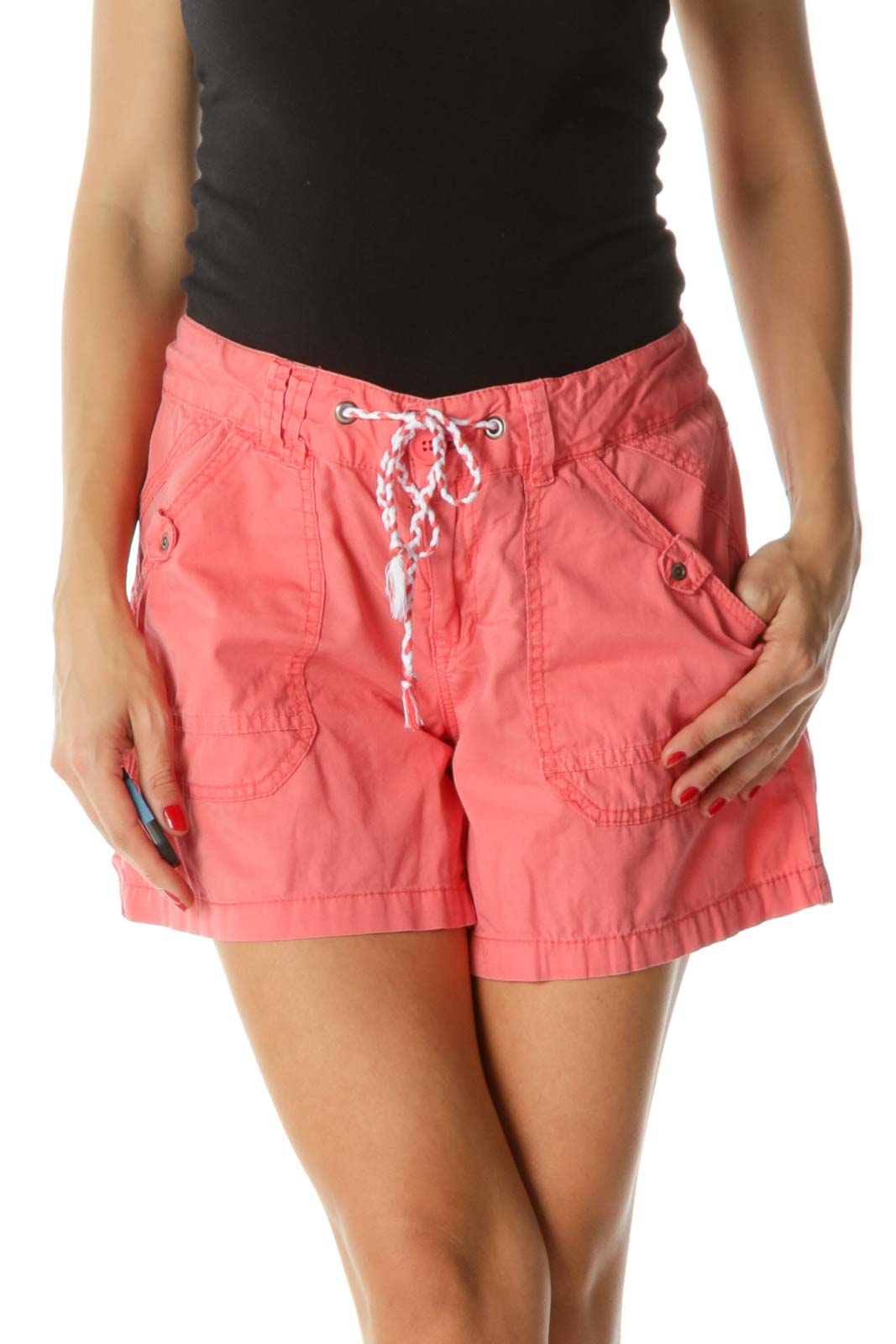 Coral Pink 100% Cotton Pocketed Braided-Drawstring Shorts Front