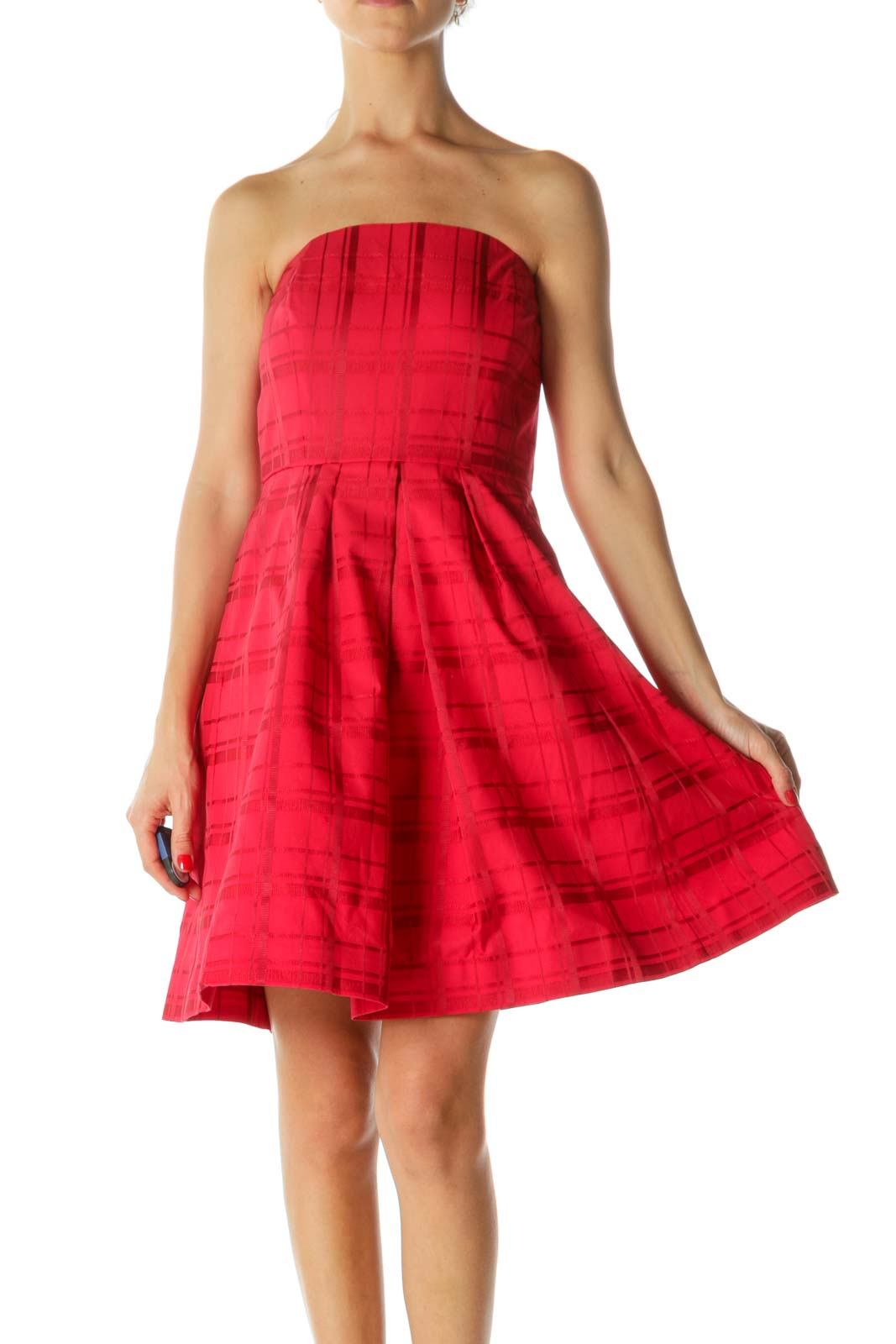 Red Plaid Jacquard Strapless Pleated Pocketed Cocktail Dress Front