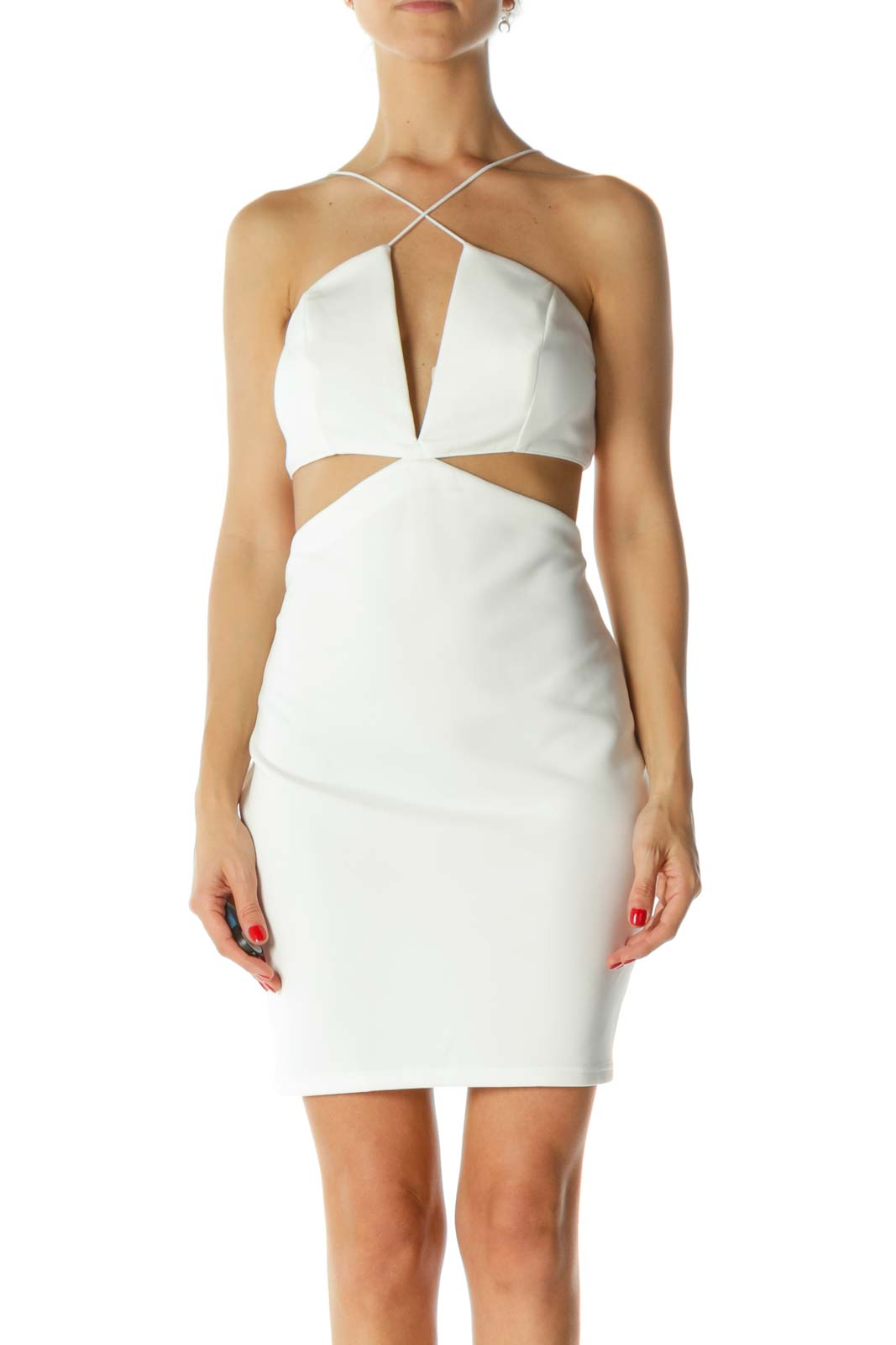 White V-Neck Structured-Upper Cut-Out Cocktail Dress Front
