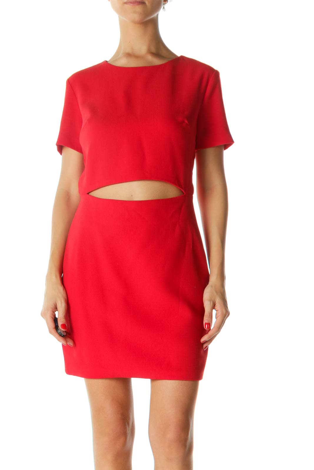 Red Round-Neck Short-Sleeve Cut-Out Textured Cocktail Dress Front