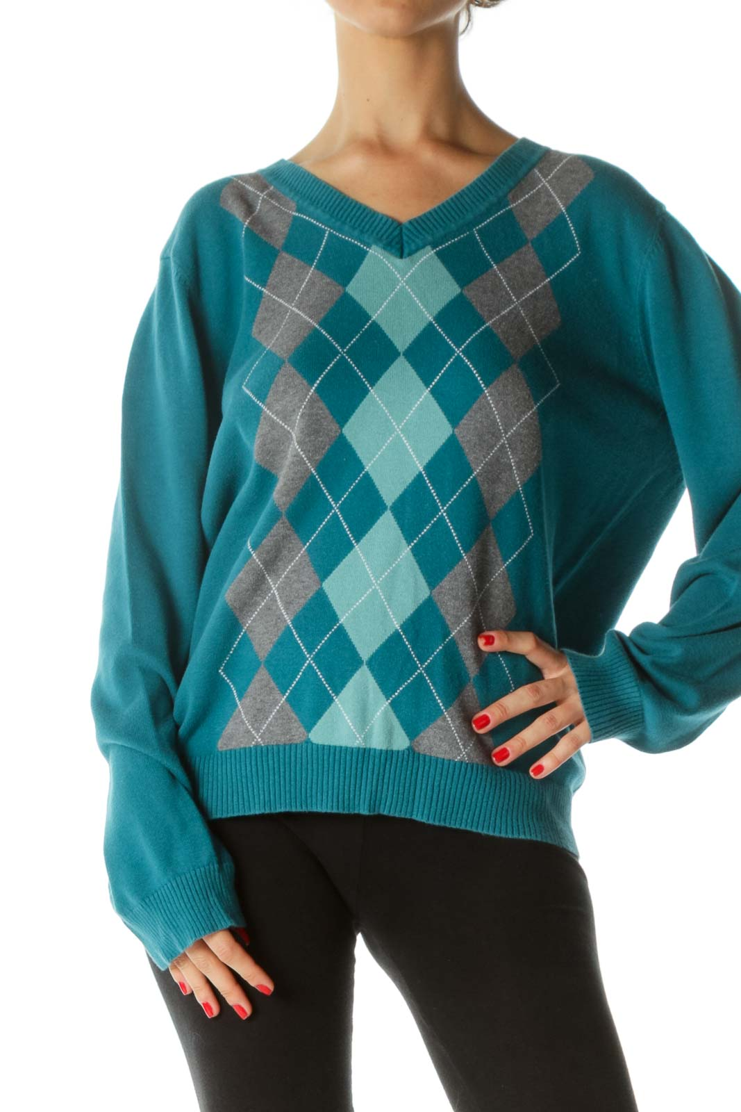 Blue Gray White 100% Cotton Argyle V-Neck Sweater Front
