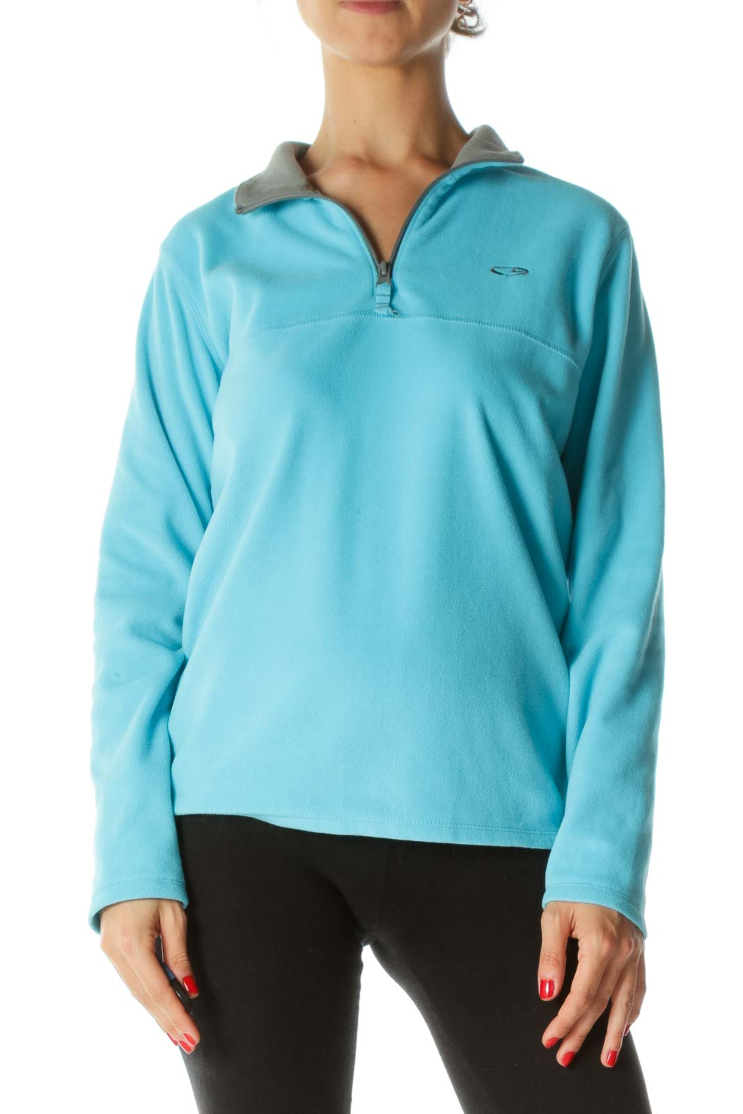 Black Gray Half-Zipper Active Fleece Jacket Front