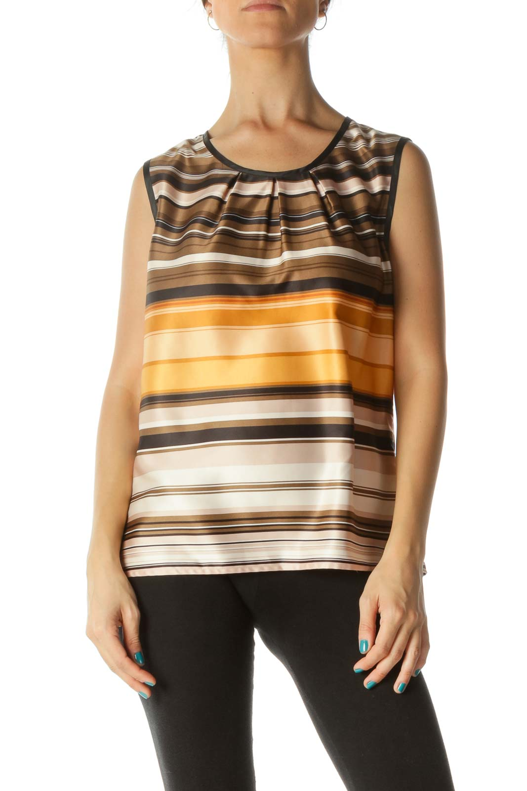 Multicolor Stripped Sleeveless Blouse Front